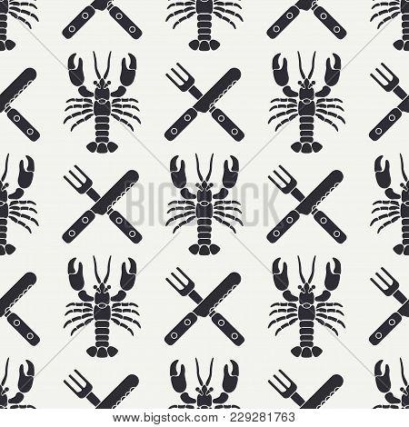 Flat Line Vector Seamless Pattern Ocean Lobster, Cutlery, Fork, Knife. Simplified Retro Cartoon Styl