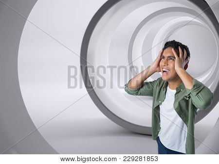 Digital composite of Businessman shouting anxiously in tunnel