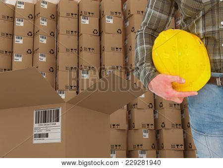 Digital composite of man with boxes