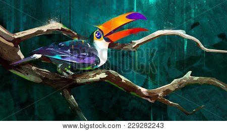 Sketch Bird Toucan Sitting On A Branch