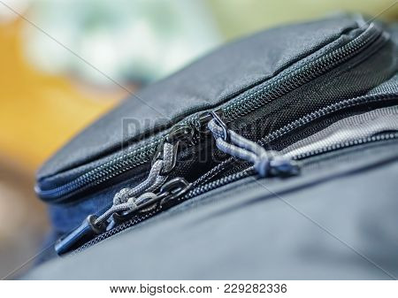 Zipper System On A Pouch Of A Camera Bag. A Close Up View.