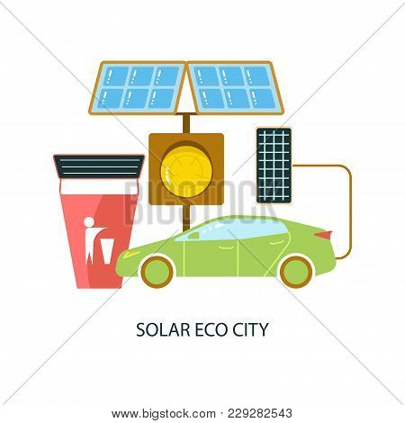 Modern Eco Technologies In The City. Solar Energy Eco City. Icons In Flat Design. Vector Illustratio