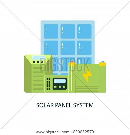 Modern Eco Technologies In The City. Solar Panel System Equipment. Icons In Flat Design. Vector Illu