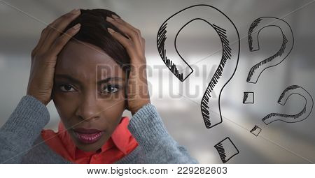 Digital composite of frustrated woman with question marks