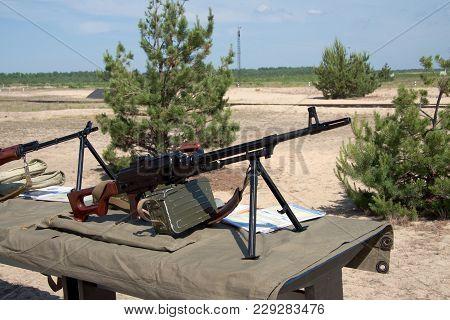 Pkm Machine Gun On The Table At The Firing Range