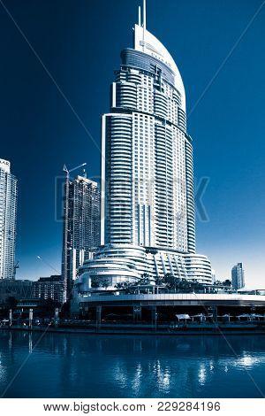 DUBAI, UAE - FEBRUARY 2018: The Address Hotel in the downtown Dubai area overlooks the famous dancing fountains