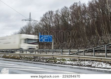 Van Captured Driving The Wrong-way As Ghost Driver On Motorway In Germany At The Exit Fernthal , Neu