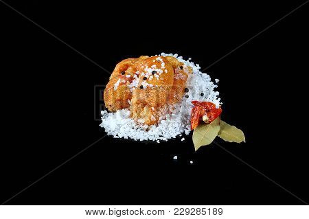 Delicious Caviar, Roe Closeup, Pike Caviar Flat Lay On Sea White Salt, Red Hot Pepper, Laurel Leaves