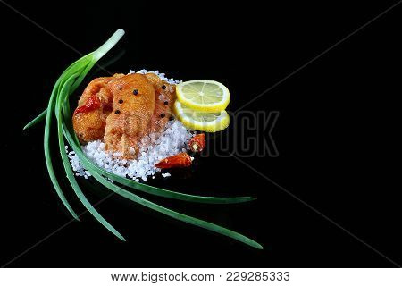 Delicious Caviar, Roe Closeup, Pike Caviar Flat Lay On Sea White Salt, Lemon Slices Green Onions, Re