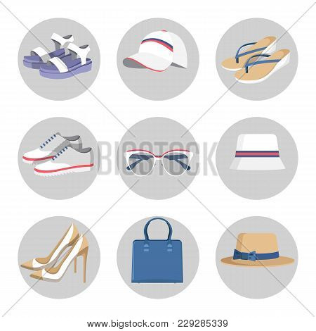 Summer Mode Circled Images, Collection Of Accessories, And Bags, Sunglasses And Hat, Flip-flops And
