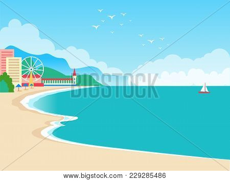 European Resort Summer Poster With Clear Sky And Water, Sand And Beach, European Resort With Ferris