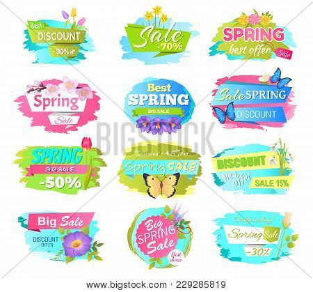 Big Set Of Spring Sale Advertisement Labels With Flowers And Butterflies, Vector Illustration Promo