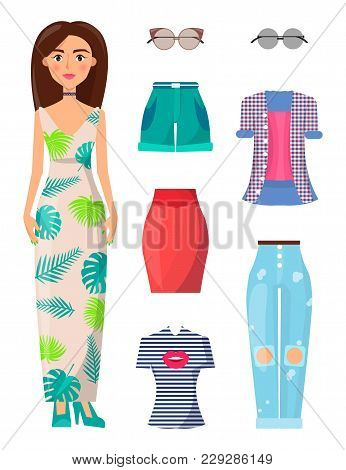 Woman And Summer Mode Collection, With Sunglasses And T-shirt With Kiss Print, Dress With Leaves, Su