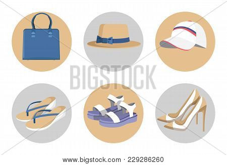Handbag And Hats, Vogue Shoes Set, Colorful Card Isolated On White, Blue Handbag, Vogue Heeled Shoes