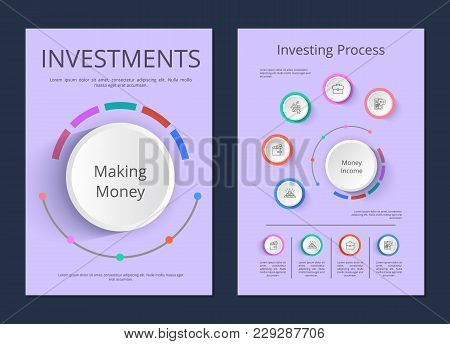 Investments And Investing Process Infographic Posters. Making Money And Income Visual Schemes Cartoo
