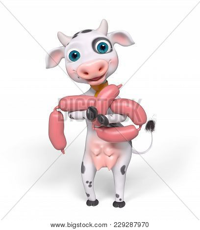 Cartoon Character Cow Holds Sausage Isolated, 3d Rendering