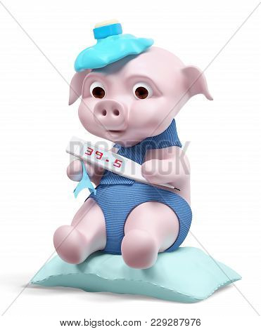 Pig With Thermometer Isolated, Swine Flu Concept 3d Rendering