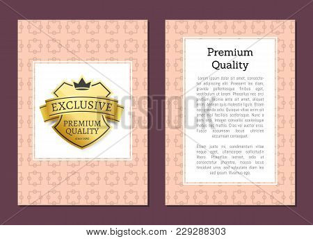 Exclusive Premium Quality Golden Label Isolated On Pink Background Vector Illustration Poster, Guara