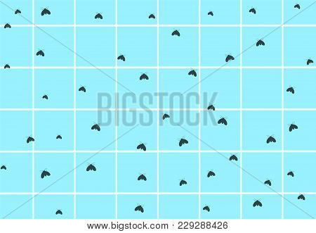 Many Drain Fly On Dirty Bathroom Wall, Vector Art Design