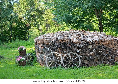 Garden Landscaping With Firewood, Old Wooden Wheel And Flowers, Decoration For Natural Atmosphere. P