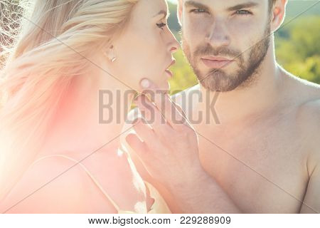 Relations Of Happy Family, Future. Love And Romance. Muscular Man And Woman With Long Blond Hair, Lo