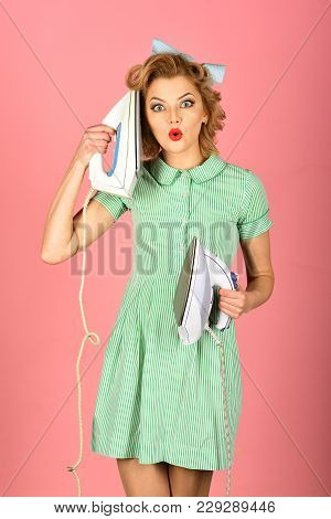 Order Services, Wife, Gender Equality. Everyday Life, Housework. Pinup Woman Hold Iron, Retro Style,