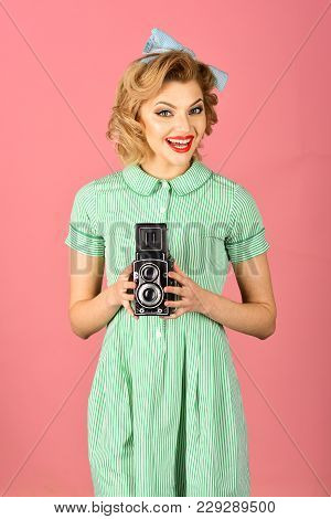 Retro Woman With Vintage Camera. Family Portrait, Old Fashion, Journalism, Pinup. Sensual Girl In Pi