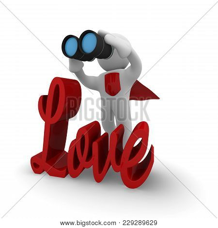 Love Search Concept, Small Super Hero With Biinoculars, Love Conceptual Image, 3d Rendering