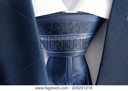 Classic Blue Suit, Shirt And Tie , Close Up , Top View