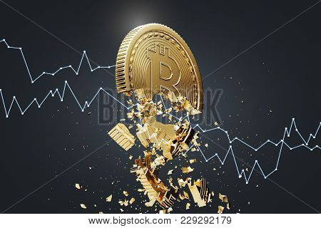 Gold Bitcoin Falling Apart. A Graph Is Crashing It. Concept Of A Cryptocurrency Market Crisis. A Bla