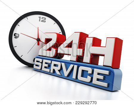 24 Hours Open Text And Clock Isolated On White Background. 3d Illustration.