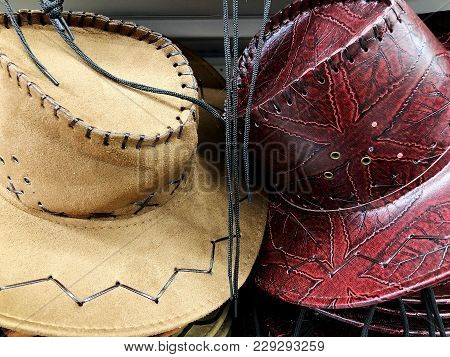 Cowboy Hats. Country Hat. The Brown Hat Is Next To The Other Hat