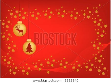 christmas decoration with ornaments and reindeer in red poster