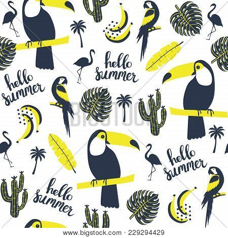 Summer Pattern. Toucan, Parrot, Flamingo  And Exotic Leaves. Vector Illustration