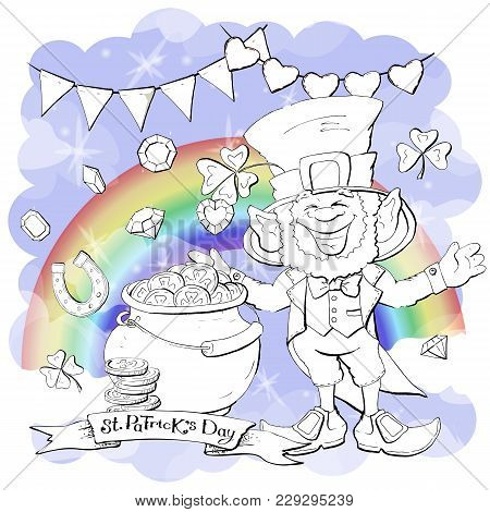 Funny Leprechaun Holding Clover Leaf Like. Coloring Book. Cartoon Vector Illustration