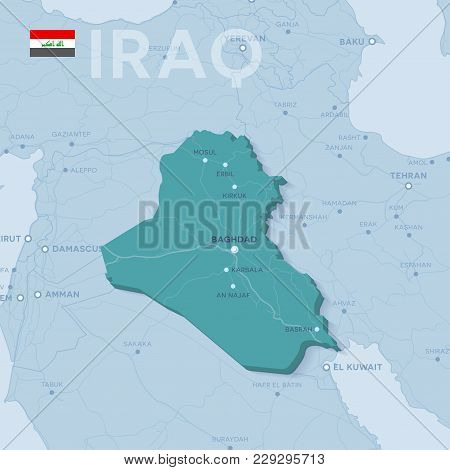 3d Verctor Map Of Cities And Roads In Asia. Iraq And Its Neighbors.