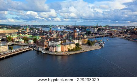 SWEDEN, STOCKHOLM - SEPTEMBER 09 2014, Aerial view. Stockholm. Old houses, buildings and streets