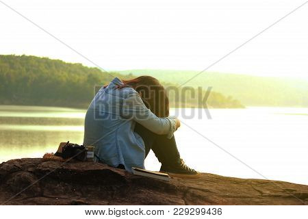 Young Woman Traveling Alone, Emotional Loneliness , Heartbroken ,concept Travel, Color Of Vintage To