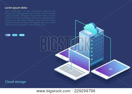 Data Center With Digital Devices. Concept Of Cloud Storage, Data Transfer. Data Transmission Technol