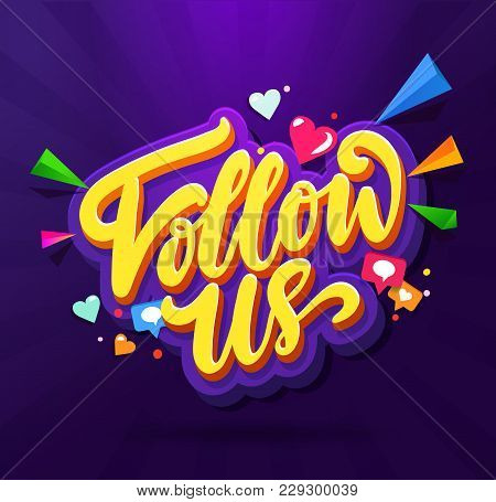 Follow Us Memphis Colorful Card. Memphis Card Set For Social Media Networks And Follower. Hand Lette