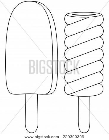 Black And White Line Art Icon Fruit Chocolate Ice Cream Popsicle Set. Coloring Book Page For Adults