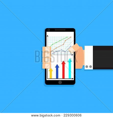 Man Hold Smart Phone With Chart And Graphic. Smartphone Chart Graph For Business, Phone Mobile With