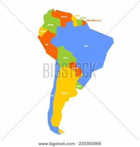 Very Simplified Infographical Political Map Of South America. Simple Geometric Vector Illustration.