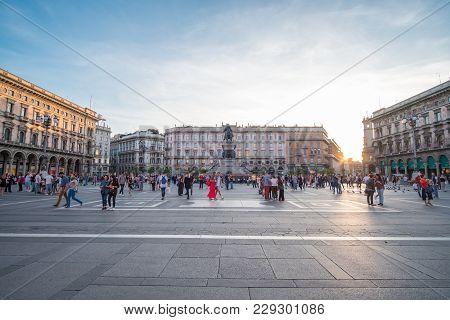 Milan, Italy - 21 May 2017 : People Walking Around Galleria Vittorio Emanuele Ii, One Of The World's