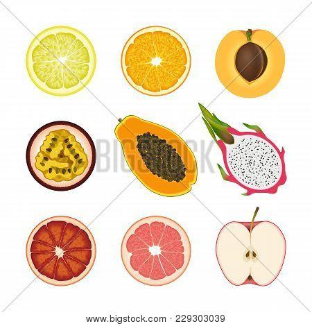 Set Of Isolated Colored Slices Of Lemon, Orange, Apricot, Passion Fruit, Pawpaw, Dragon Fruit, Pink