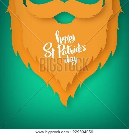 Origami Of The Beard Of Irishman. St. Patricks Day. Vector Illustration.