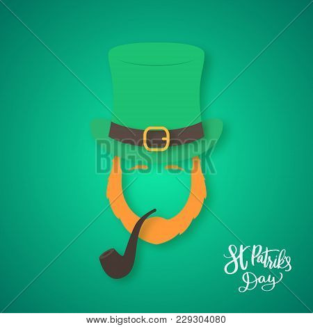 Silhouette Of Irishman Head With Ginger Beard And Smoking Pipe. Happy St. Patricks Day. Origami Conc