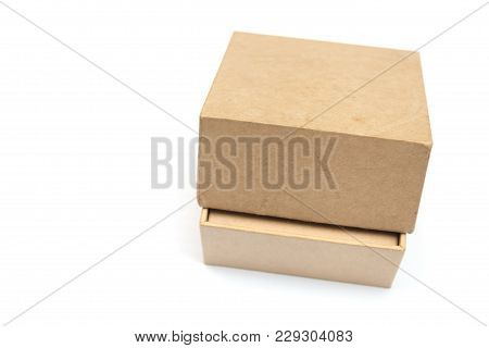 Close Up Of Cardboard Box Isolated On White