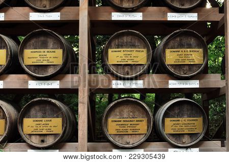 Tokyo, Japan - October 01, 2017: Barrels Of Wine On The Way To Meiji Shrine. Meiji Shrine Is The Shi