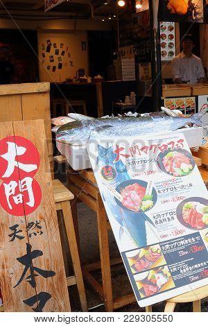 Tokyo, Japan -october02, 2017:sale Of Fish On Thetsukiji Market.thetsukiji Marketis The Bigge